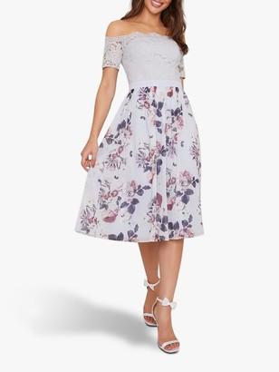 Chi Chi London Alia Bardot Dress, Lilac