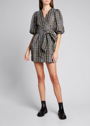 Ganni Seersucker Check Mini Wrap Dress