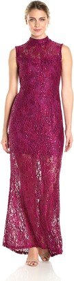 Marina Women's Long Mock Neck Gown with Illusion Sequin Lace
