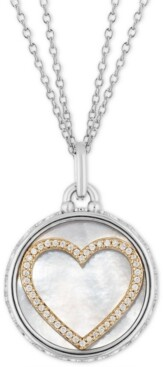 """Tokens by Hallmark Diamonds Mother Of Pearl & Diamond Heart Disc Double Chain Love pendant (1/5 ct. t.w.) in Sterling Silver & 14k Gold, 16"""" + 2"""" extender"""