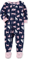 Carter's 1-Pc. Cat-Print Footed Pajamas, Baby Girls