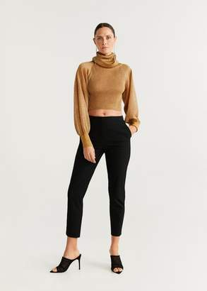 MANGO Metallic thread crop sweater gold - S - Women