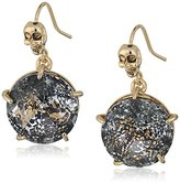 "Betsey Johnson Skeletons After Dark"" Patina Faceted Stone Drop Earring"