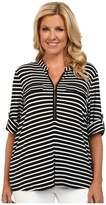 Calvin Klein Plus - Plus Size Zip Front Roll Sleeve Top Women's Long Sleeve Pullover