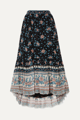 Ulla Johnson Marina Floral-print Fil Coupe Silk-blend Chiffon Midi Skirt - Navy