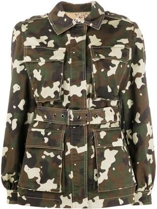 Pinko Camouflage-Print Multi-Pocket Jacket