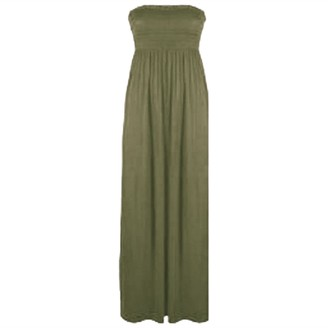 Zet New Womens Sheering Gather Bobtube Bandeau Long Summer Strapless Ladies Maxi Dress Plus Size 8-24 (One Size (Fits UK 8-24)