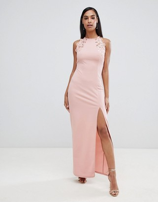 AX Paris high neck maxi dress with side split & lace detail