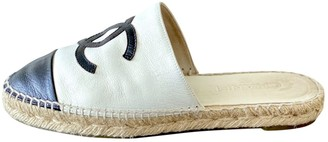 Chanel White Leather Espadrilles
