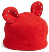Helene Berman Women's Studded Ears Wool Blend Cap - Red