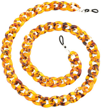 Tortoise Shell Large Eyeglasses And Mask Chain