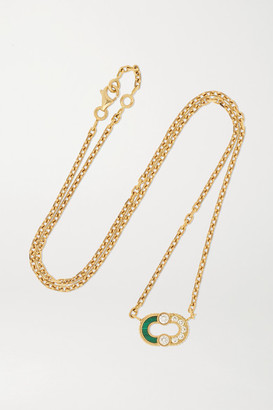 Viltier + Net Sustain Magnetic Semi 18-karat Gold, Diamond And Malachite Necklace - one size