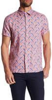 Perry Ellis Short Sleeve Paisley Linen Regular Fit Shirt