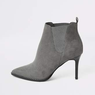 River Island Womens Grey pointed heeled wide fit ankle boots