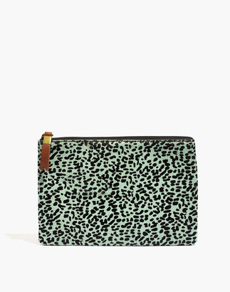 Madewell The Leather Pouch Clutch in Printed Calf Hair