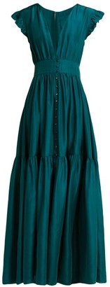 Loup Charmant Mayette Silk Tiered Maxi Dress - Dark Green