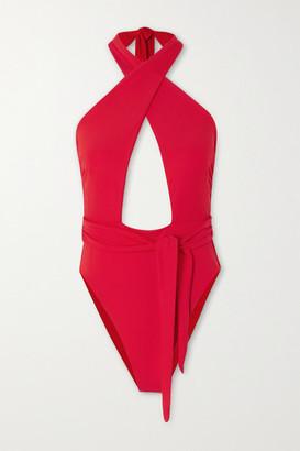 Mara Hoffman Roni Tie-front Cutout Halterneck Swimsuit - Red
