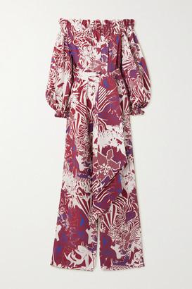 Halpern Off-the-shoulder Printed Cotton-poplin Jumpsuit - Burgundy