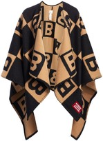 Burberry Logo Patch Repeat Wool & Cashmere Blanket Cape