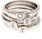 Obey The Stack Rings in Rhodium