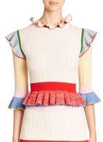 Alexander McQueen Colorblock Peplum Sweater