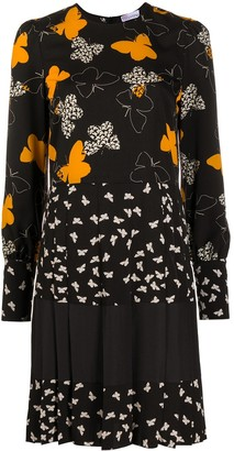 RED Valentino Butterfly Print Pleat Detail Dress