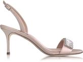 Giuseppe Zanotti Powder Pink Satin and Patent Leather Mid Heel Sandal w/Crystals