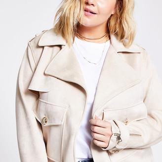 River Island Plus beige suedette cropped jacket