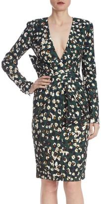 Badgley Mischka Metallic Leopard Print Dress