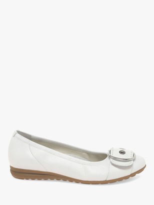 Gabor Saviour Leather Wide Fit Pumps, White