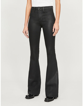 L'Agence Bell slim-fit flared high-rise coated jeans