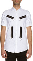 DSQUARED2 Zip-Detail Woven Shirt, White