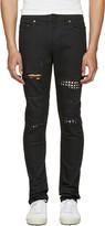 Saint Laurent Black Studded Low Waisted Skinny Jeans