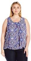 NY Collection Women's Printed Sleeveless Inverted Pleated Sharkbite Hem Top