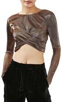 Topshop Women's Metallic Twist Front Crop Top