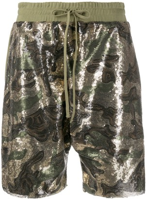 R 13 Camouflage Sequinned Shorts