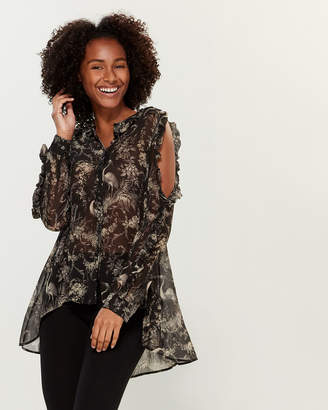 The Kooples Printed Cold Shoulder Tunic