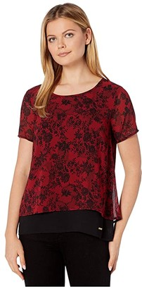 MICHAEL Michael Kors Chantilly Mix Cutout Top (Red Currant) Women's Clothing