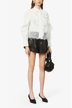 Self-Portrait Lace-trim cotton shirt