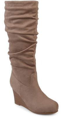 Brinley Co. Womens Slouchy Faux Suede Mid-calf Wedge Boots