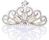Remedios Colorful Rhinestoned Wedding Flower Girl Tiara Kids Crown Princess Headpiece Hair Comb, Green