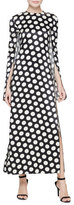 Calvin Klein Collection Polka Dot Cape-Sleeve Gown, Black