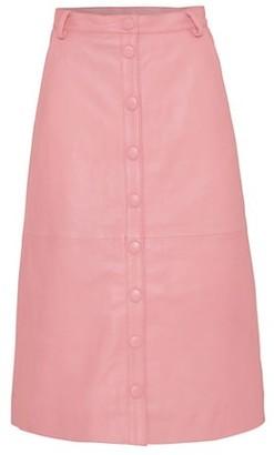 REMAIN Birger Christensen Bellis Leather Midi Skirt