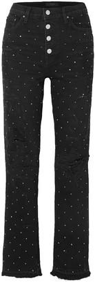Amiri Studded Distressed High-rise Straight-leg Jeans