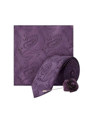 Dorothy Perkins Womens **Burton Purple Wedding Paisley Design Tie And Matching Pocket Square With A Flower Pin, Purple