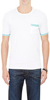 Barneys New York MEN'S TRIMMED JERSEY T-SHIRT-WHITE SIZE L