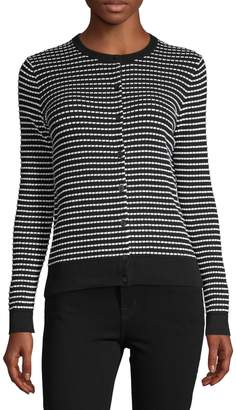Lord & Taylor Ribbed Striped Cotton Cardigan