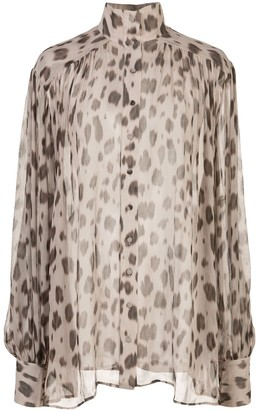 Anine Bing Kacey leopard print blouse