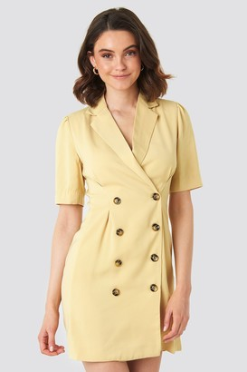 NA-KD Short Sleeve Blazer Dress Beige