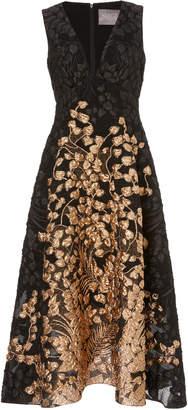 Lela Rose Two-Tone Jacquard Midi Dress